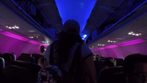 Argueta Family Disneyworld 2018 Spring Break Vacation Virgin Airlines Aisle